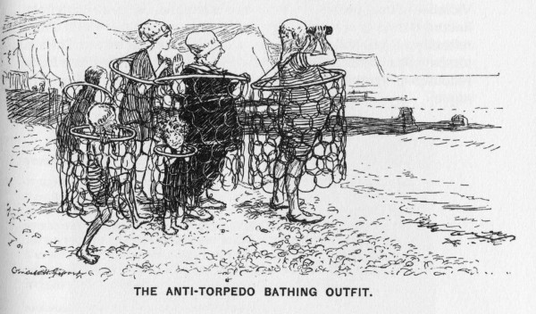 """Le maillot de bain anti-torpilles"", dessin de Ernest Howard Shepard, paru dans Punch, or the London charivari, 4/08/1915."